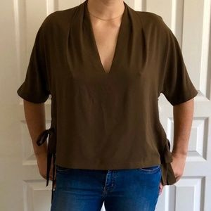 Brown Topshop Blouse with Ties on sides